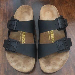 Black Leather Birkenstock Sandals - Size 6 36